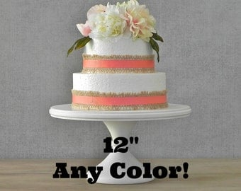"""12"""" Cake Stand ANY COLOR Cupcake Pedestal Stand Rustic Wedding Decor E. Isabella Designs Featured In Martha Stewart Weddings"""