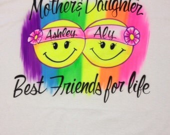 Airbrush Mother and Daughter Best Friends For Life with Names TShirt Airbrushed Shirt