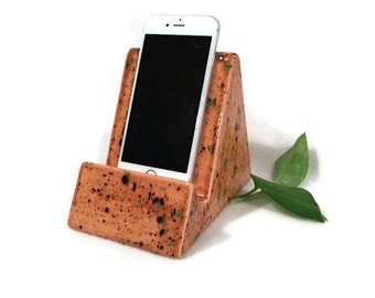 iPhone iPad Stand - Earth Tone Brown with Rustic Orange and Green