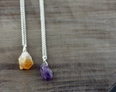 Amethyst or Citrine Point Necklace On Sterling Silver or Gold Fill