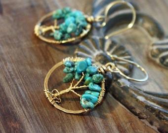 Turquoise Tree of Life Earrings, Tree Earrings, Turquoise Earring, Boho Earrings, Boho Jewelry, Turquoise Jewelry