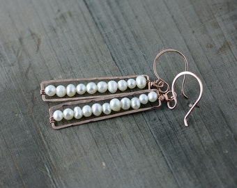 Pearl Stacked and Framed Earrings, in 14k Rose Gold Fill, 14k Gold Fill, Sterling Silver or Brass, Match Stick Earrings