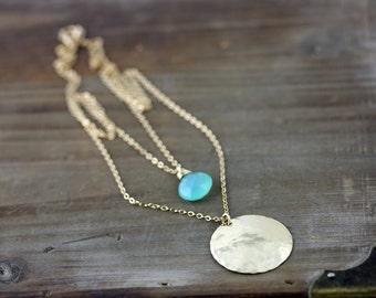 Double Strand Gold Necklace, Aqua Chalcedony Layering Necklace, Brass Disk Necklace, Multi Strand, Multi Layer, Double Layer Necklace