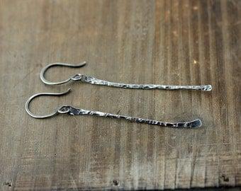 Long Oxidized Sterling Silver Earrings, Bamboo Earrings, Matchstick Earrings