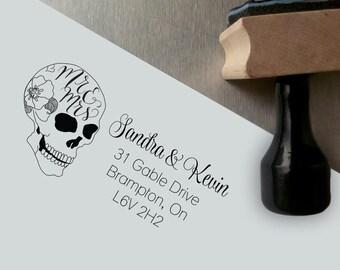 Custom Hand Lettered Mr & Mrs Return Address Stamp - Sugar Skull Gothic Wedding Return Address Stamp