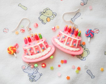 Birthday Earrings, Birthday Cake Earrings, Kawaii Earrings, Cake Earrings, Food Earrings, Pink Cake, Kawaii Kei, Sweet Lolita, Birthday