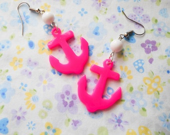 Kawaii Anchor Earrings, Anchor Earrings, Kawaii Earrings, Cute Earrings, Nautical Earrings, Summer Earrings, Anchors, Marine, Hot Pink