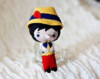 "Made to Order Pinocchio Felt Doll - 5.5"" Handmade Miniature Doll - Fairy Tale Doll - Pinocchio Doll - Gingermelon Doll"