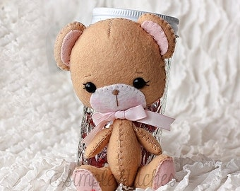 "Custom Made Sweetheart Felt Bear - 5"" Handmade Miniature Bear - Bear - Stuffed Bear - Gingermelon Bear"
