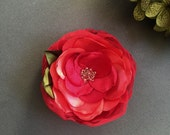Poetic Red Rose Large Flower brooch corsage pin Flower for dress sash clutch Prom Wedding Handmade Flower