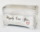 Small 'Happily Ever After' Card Box for Wedding Cards in Shabby Chic White Wash