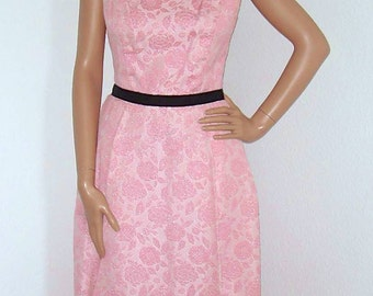 LAST CALL Vintage 1960s Pink Metallic Floral Brocade Dress Gown 60s Sleeveless Formal Long Dress