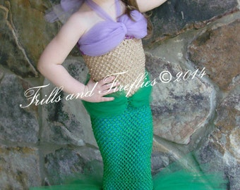 Mermaid Costume, Girls Mermaid Costume Set w/Flower Hair Clip, Tail in Green or Turquoise  NOTE: Child can walk in this with smaller steps