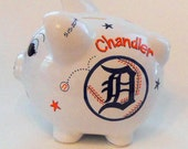 Personalized Piggy Bank Detroit Tigers Baseball