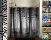 fifty shades of gray woodland forest trees shower curtain bathroom decor fabric kids bath window curtains panels valance bathmat