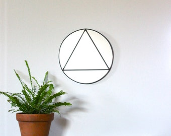 Circle Triangle Wall Mirror Geometric / Handmade Wall Mirror