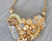 Lily - STATEMENT Vintage Brooch Collage Necklace