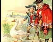 Mother Goose Storybook Illustration Downloadable, Printable, Digital Art Image.Instant Download Nursery Rhyme Digital