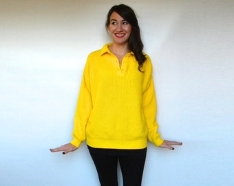 Vintage 80s Sunshine Yellow Knit Sweater, Medium