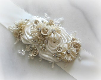 Ivory Bridal Sash with Champagne Flowers, Crystals and Pearls, Pale Gold Champagne Bridal Belt, Ivory Wedding Belt - TOFFEE