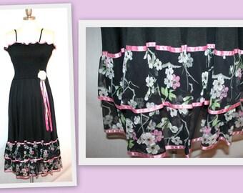 1970s Black Spaghetti Strap Dress/Floral Tiered Ruffle Hemline by Estivo