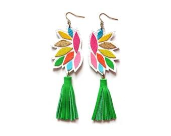Green Tassel Leather Earrings, Rainbow Geometric Earrings, Colorful Leather Earrings, Geometric Leather Tassel Jewelry
