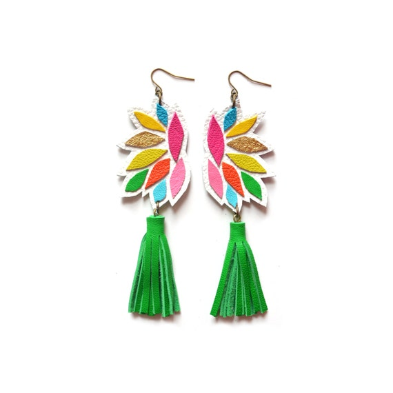 Green Tassel Leather Earrings, Rainbow Geometric Earrings, Colorful Leather Earrings, Geometric Leather Tassel Jewelry