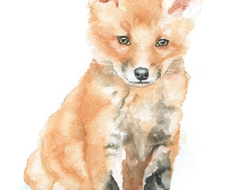 Fox Watercolor Note Cards - Set of 6 - Blank Greeting Cards