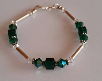 Emerald Swarovski Crystal and Sterling Silver Bracelet