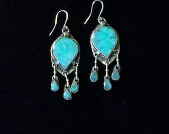 Turquoise Afghani Tribal Dangle Earrings