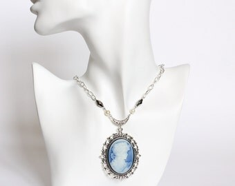 Katherine's Blue Cameo Necklace (TVD) CLEARANCE