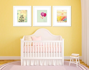 girl nursery carnival art set three photographs ferris wheel balloons photography little girls room decor pink mint green wall art