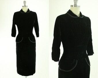 1950's Black Velvet Cocktail Dress S M Peplum Prestige Junior