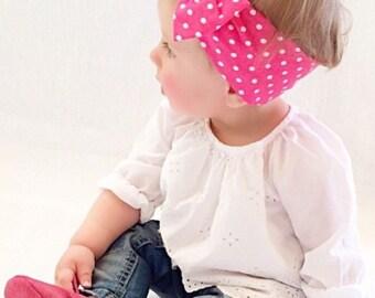 Bow turban headband hot pink polka dot
