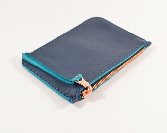 Navy Blue Leather Zip Pouch Purse Wallet Handmade