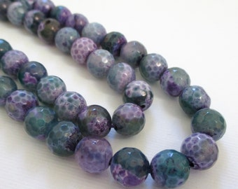 """Faceted Round Agate Beads - Purple Green Agate - Round Ball Beads - 8mm - Center Drilled Natural Gemstone - Diy Jewelry Making - 7.5"""" Strand"""