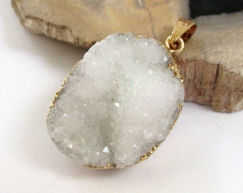 Snow White Druzy Pendant - Sparkly Crystal Geode - Edged Gold Teardrop - Natural Stone - Rough Surface - Flat Back - DIY Jewelry Making