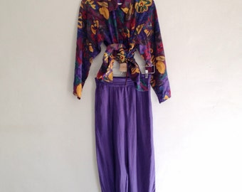 Vintage 1990s Pure Silk Nu Wave Two Piece Top and Pants Coordinate Set
