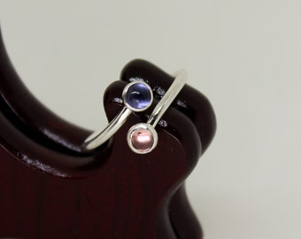 Iolite & Pink Tourmaline Ring // Sterling Silver // Duality // Open Ended  // Stacker Ring // Stacking Ring // Gemstone Ring