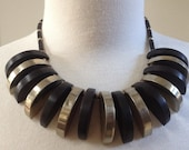 Tribal Brass Ebony Wood Choker Necklace – 1960s Jewelry