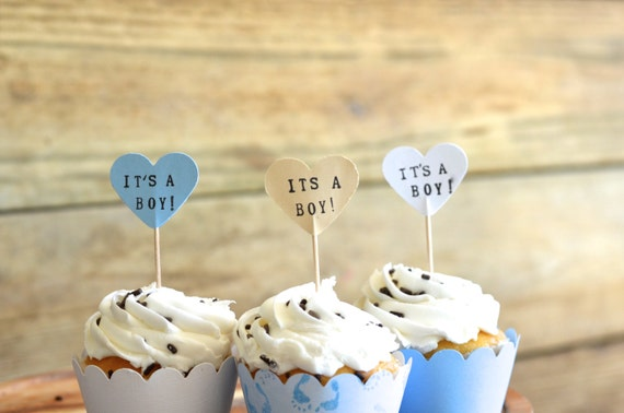 It's A Boy! handstamped cupcake toppers, set of 12 - the ORIGINAL hand stamped hearts