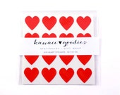 64 Red heart stickers  - 3/4 inch mini red hearts