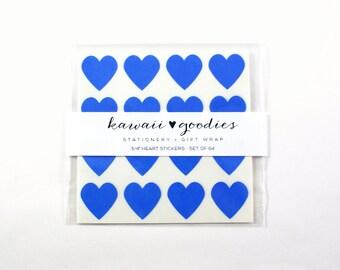 64 Sweetheart Blue heart stickers  - 3/4 inch mini blue heart Stickers