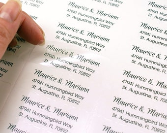 Custom print return address OR message labels  - 2 5/8 x 1 clear rectangle custom labels - small business, wedding invitation