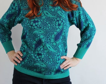 Vintage 80s Women's Teal Navy Paisley Pullover Sweater