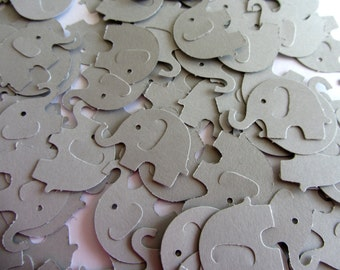 Grey Elephant Die Cuts - Table Confetti - Baby Shower Decoration - Paper elephants - Gray baby shower
