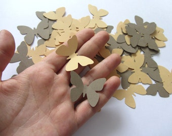 Paper butterflies khaki 100 die cut butterflies, die cuts, wedding decorations, scrapbooking khaki weddings butterflies