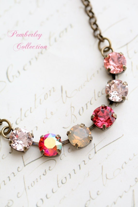 Pink Crystal Necklace, Multicolored Necklace, Swarovski Crystal Necklace, Rose Necklace, Blush Necklace