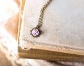 Filigree Flower Necklace,  Rose Flower, Lavender Cabochon, Little Girls Necklace, Princess Choker Necklace