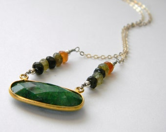 Emerald Gemstone Tourmaline Necklace Sterling Silver Vermeil. Mixed Metal Necklace. Autumn colors. Made in Maine. Deezines Statement Jewelry